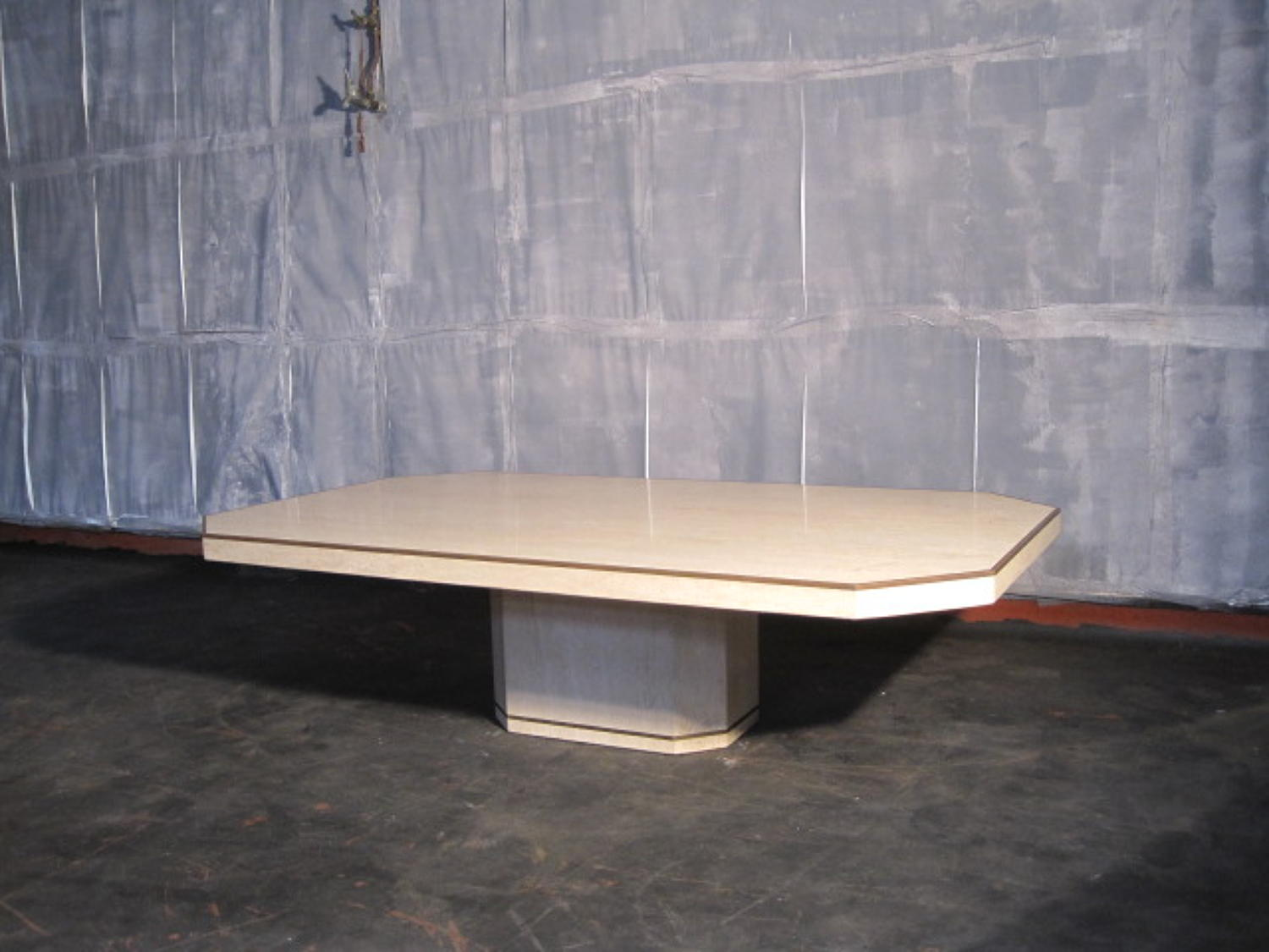 Travertine marble and bronze coffee table by Willy Rizzo