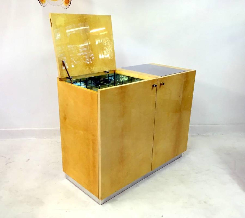 Lacquered goatskin bar cabinet by Aldo Tura
