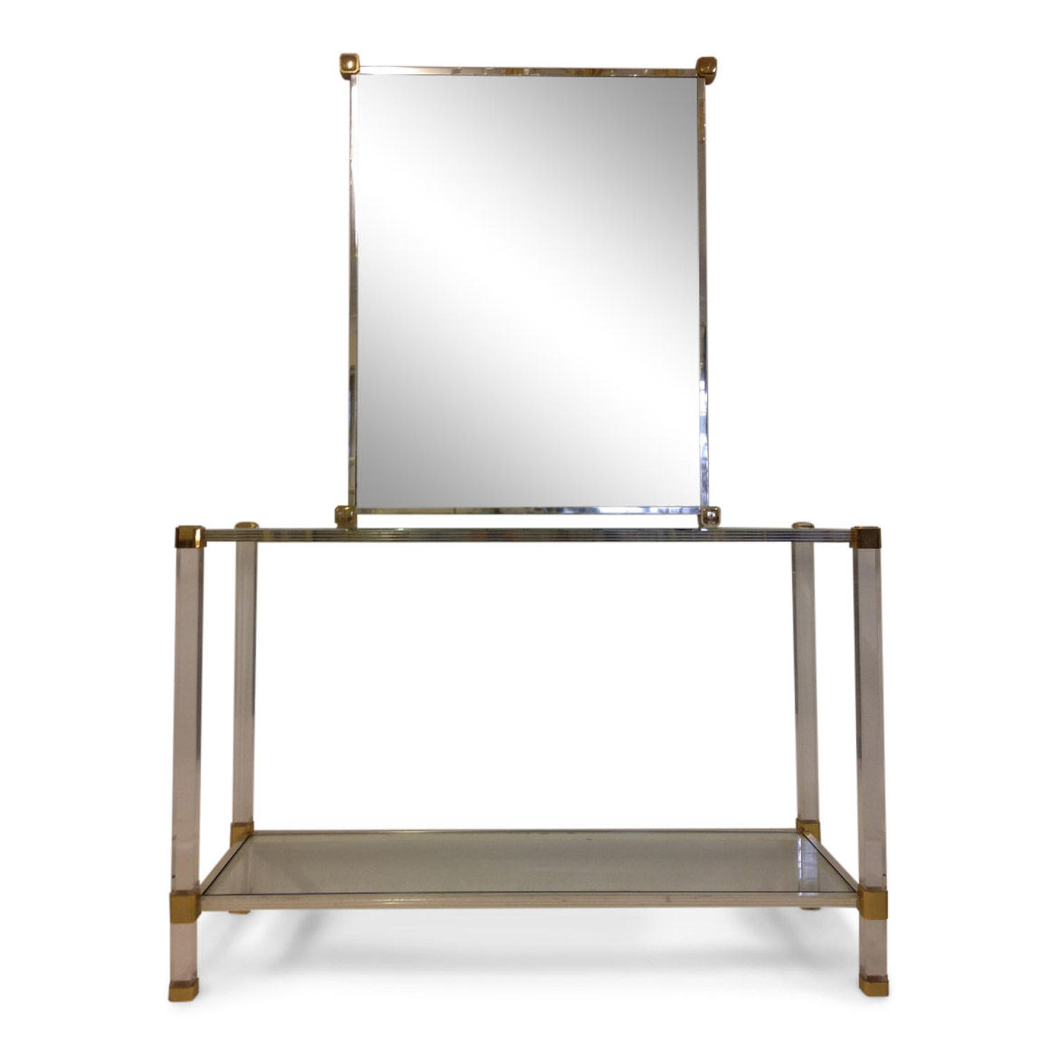 Lucite, chrome and brass console table and mirror