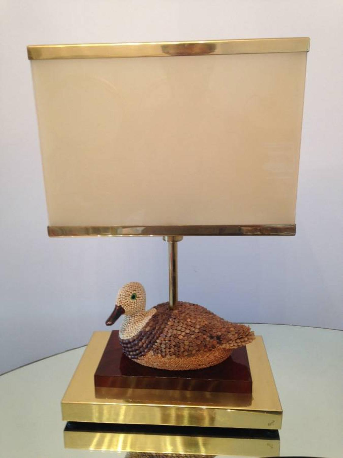 Brass and lucite duck lamp