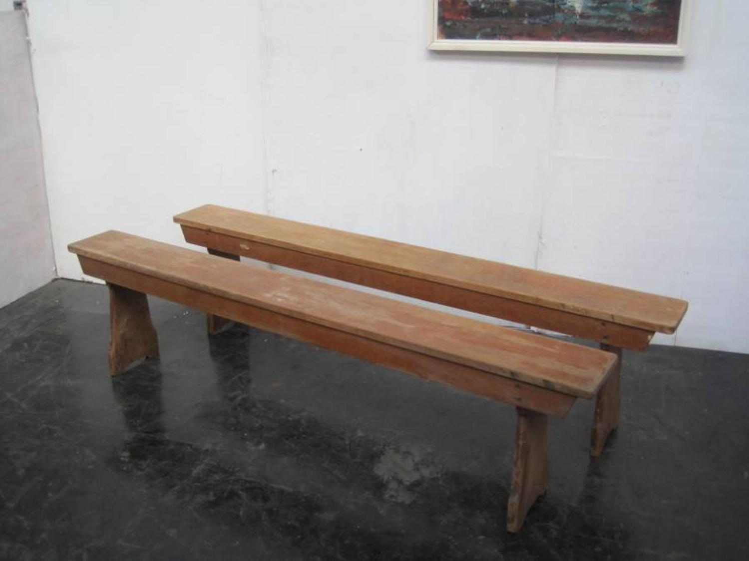 Vintage wooden school benches