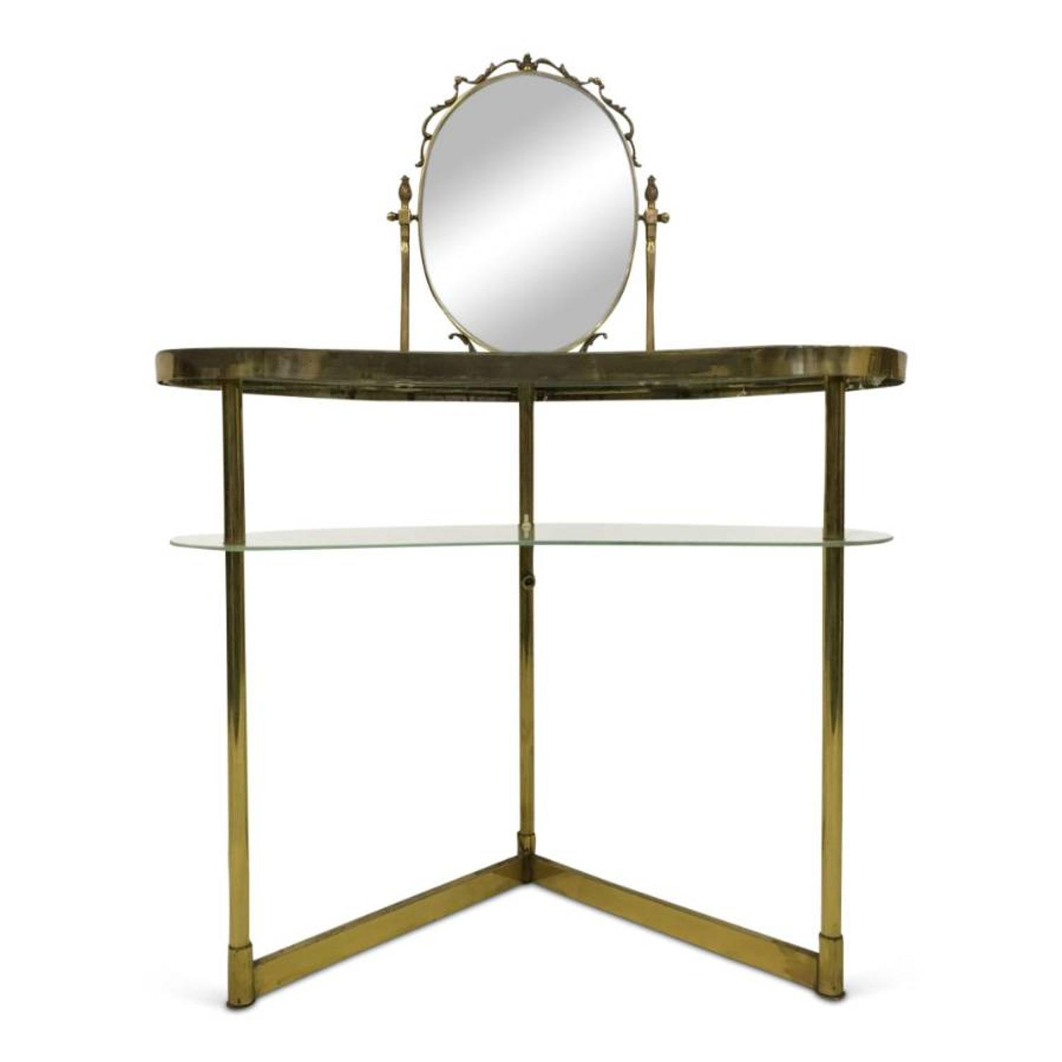 1950s Italian brass and glass vanity table with mirror