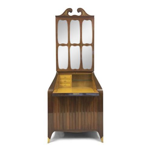 Rosewood bureau bookcase by Paolo Buffa