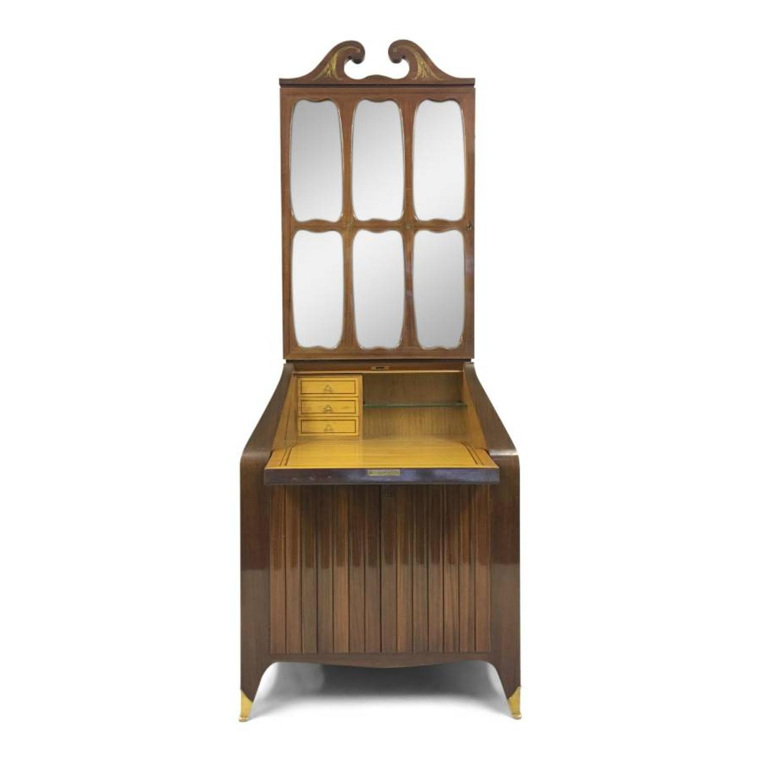 Rosewood bureau bookcase by Paolo Buffa