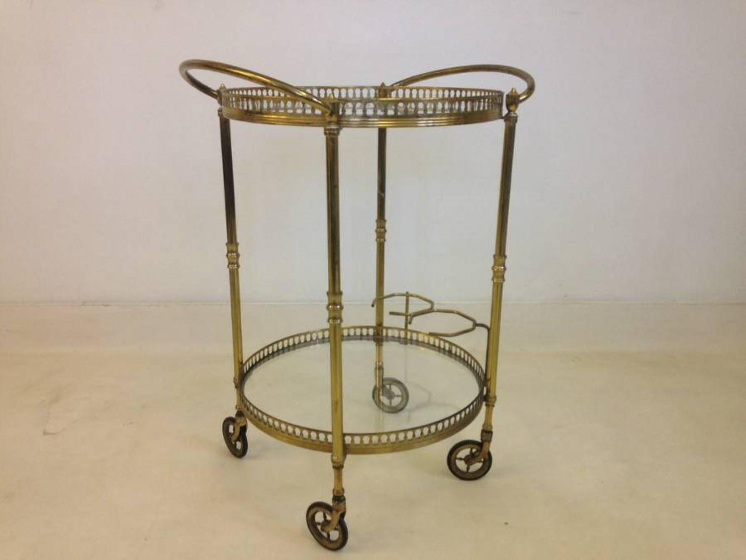 Circular brass drinks trolley