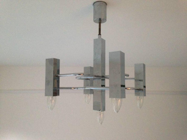 Chrome chandelier by Sciolari for Boulanger