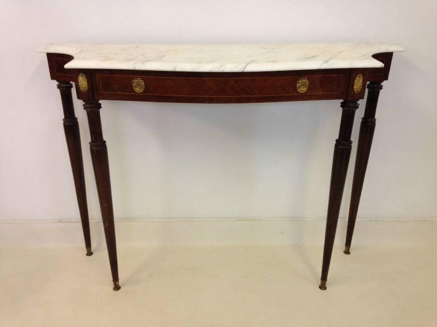 1950s Italian console table with marble