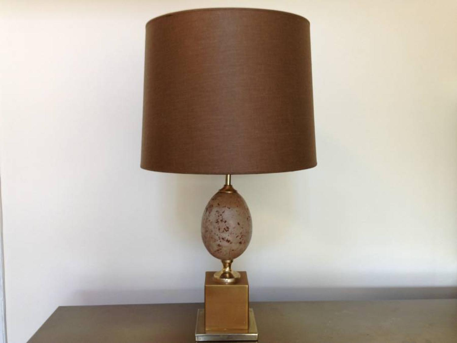 Travertine egg and metal table lamp