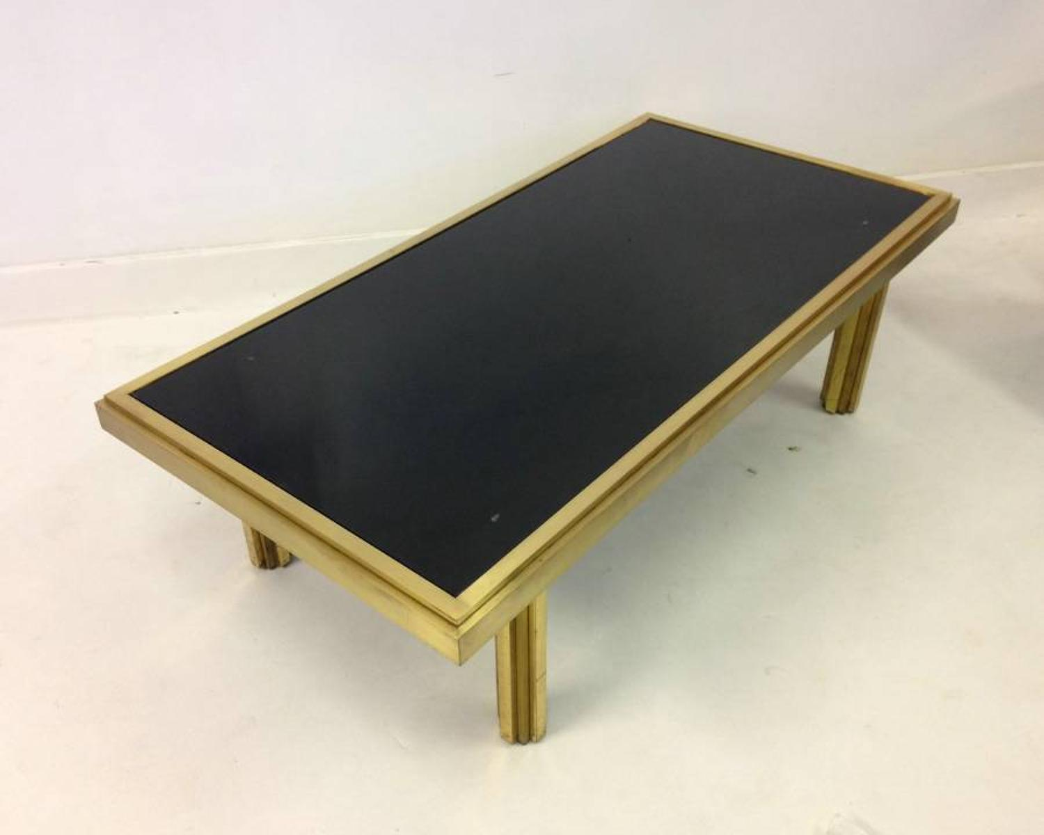 Brass and black glass coffee table