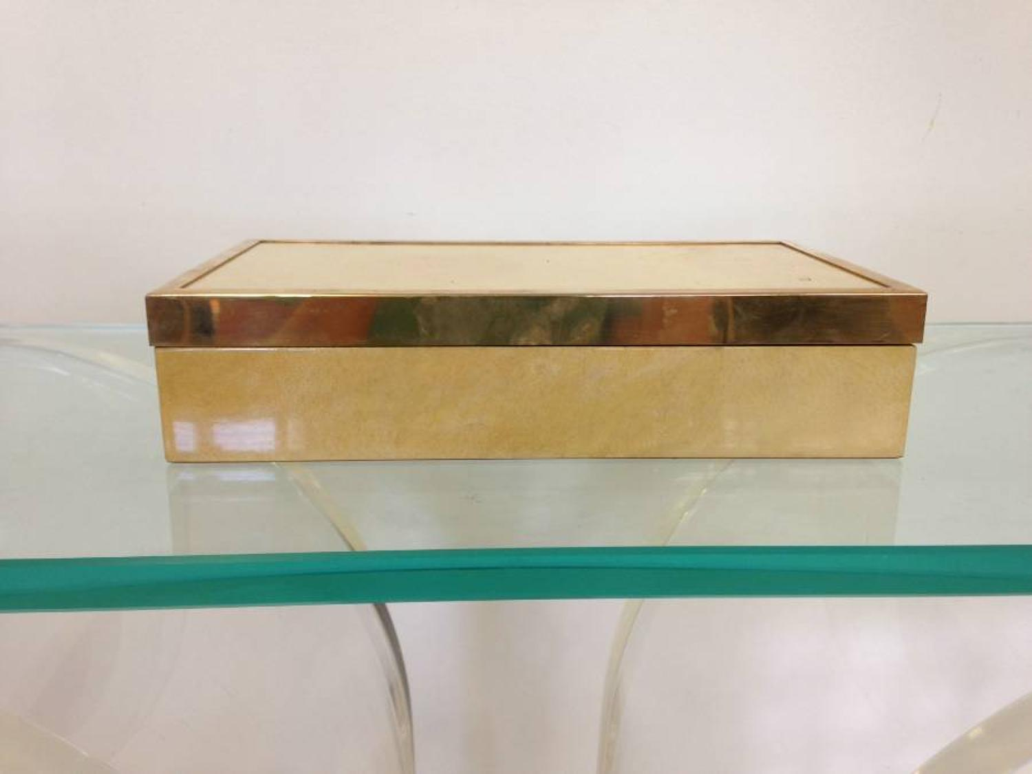 Lacquered goatskin and brass box by Aldo Tura