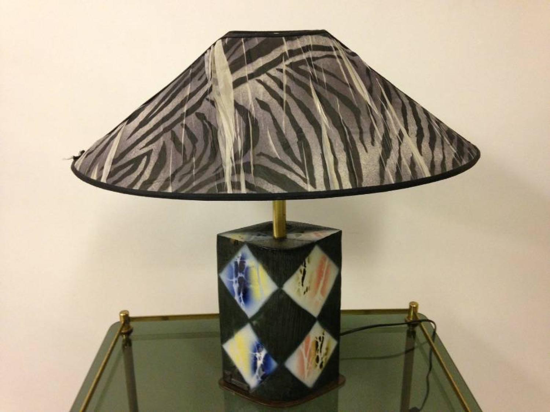 1980s Italian lamp with Zebra stripe shade