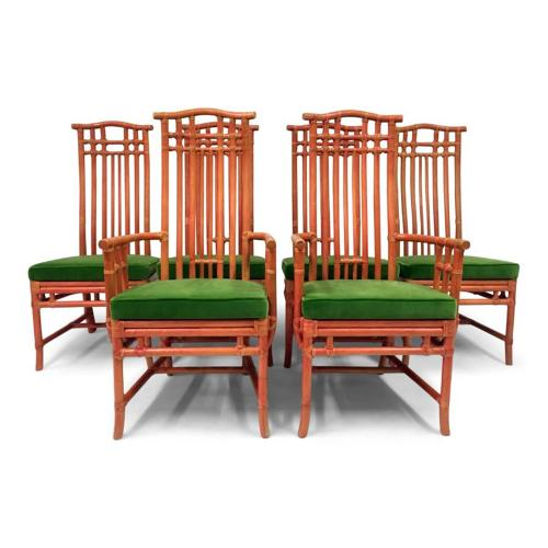 A set of six red bamboo and green velvet dining chairs