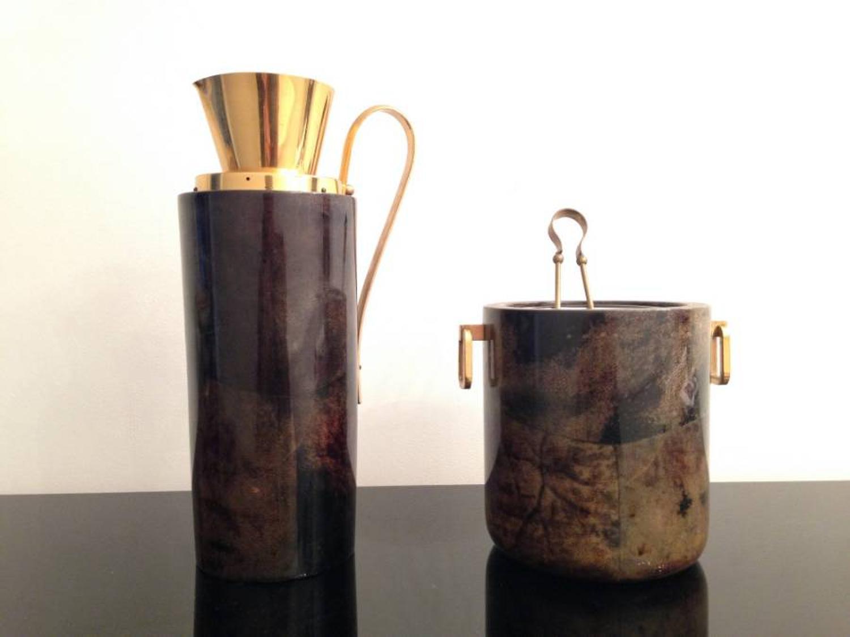 Goatskin ice bucket and carafe by Aldo Tura