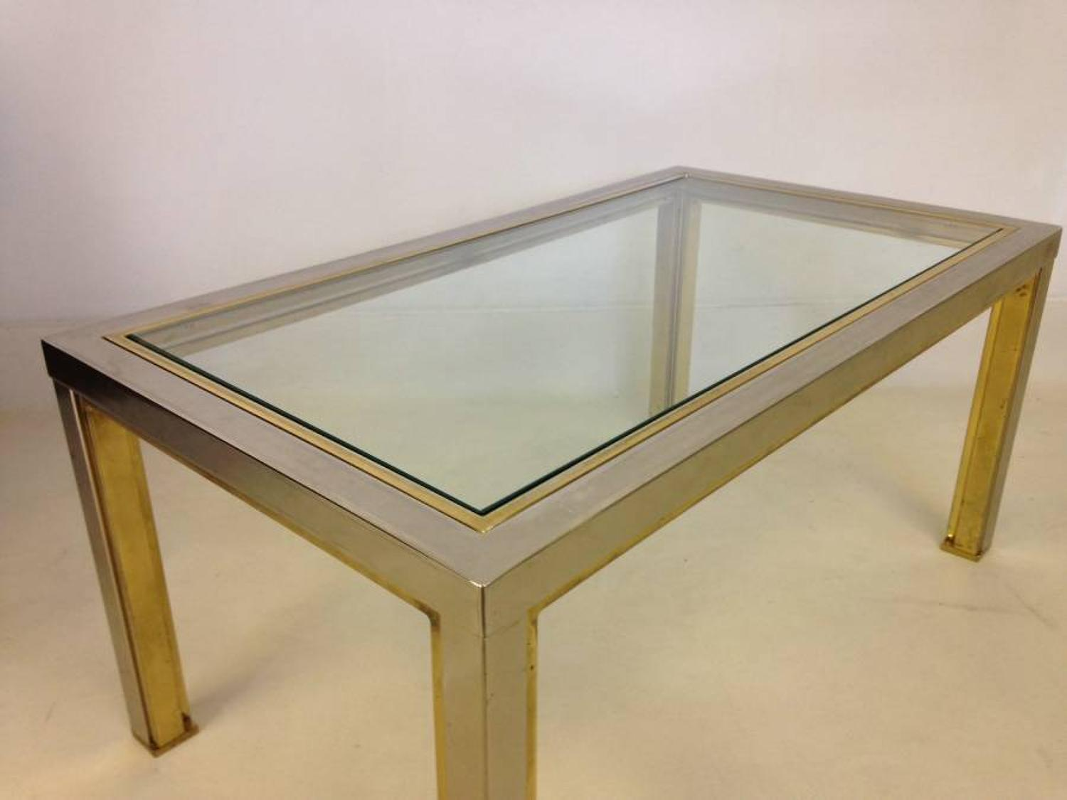Chrome and lacquered brass side table