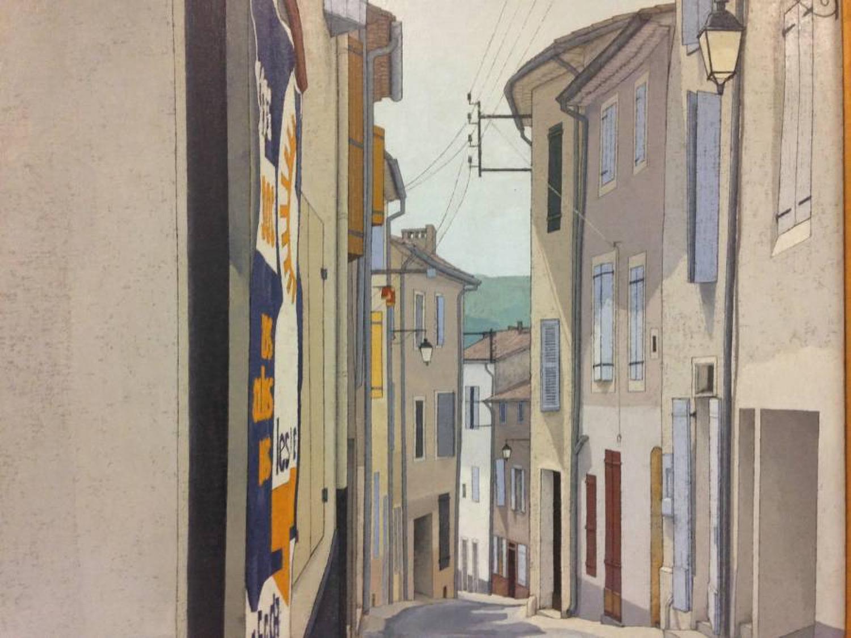 1970s street scene painting on canvas