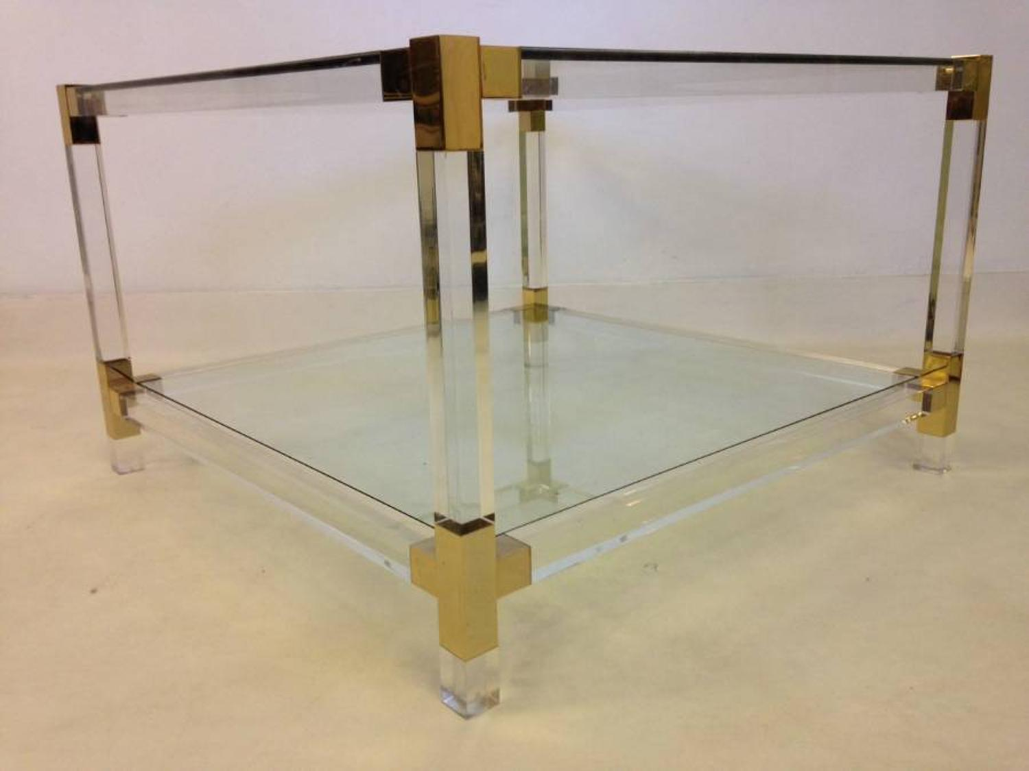 Lucite and gold lacquered metal coffee table