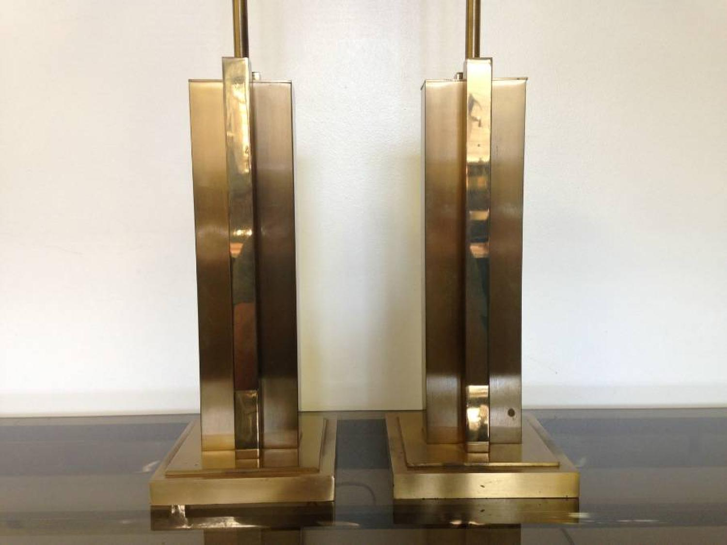 A pair of 1970s brass table lamps