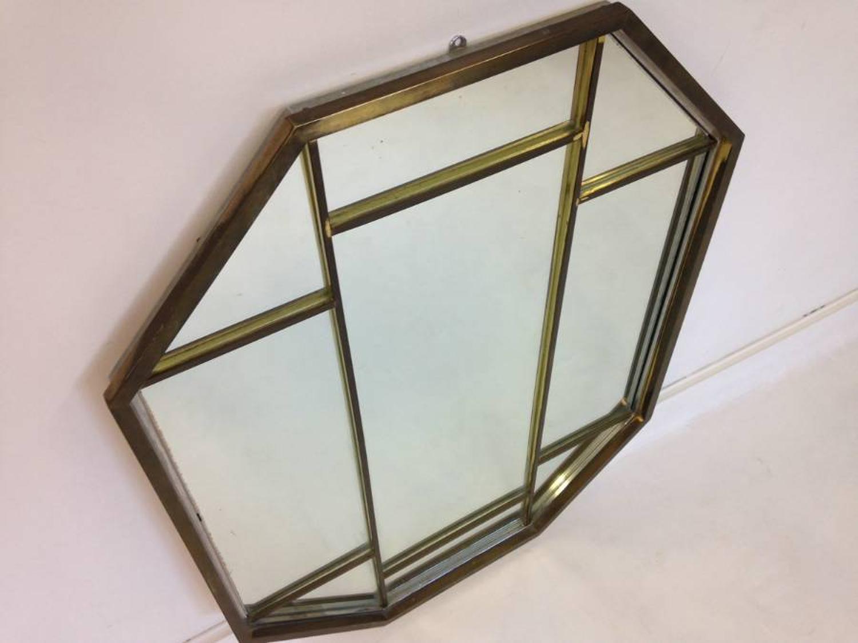 Brass and chrome octagonal mirror by Romeo Rega
