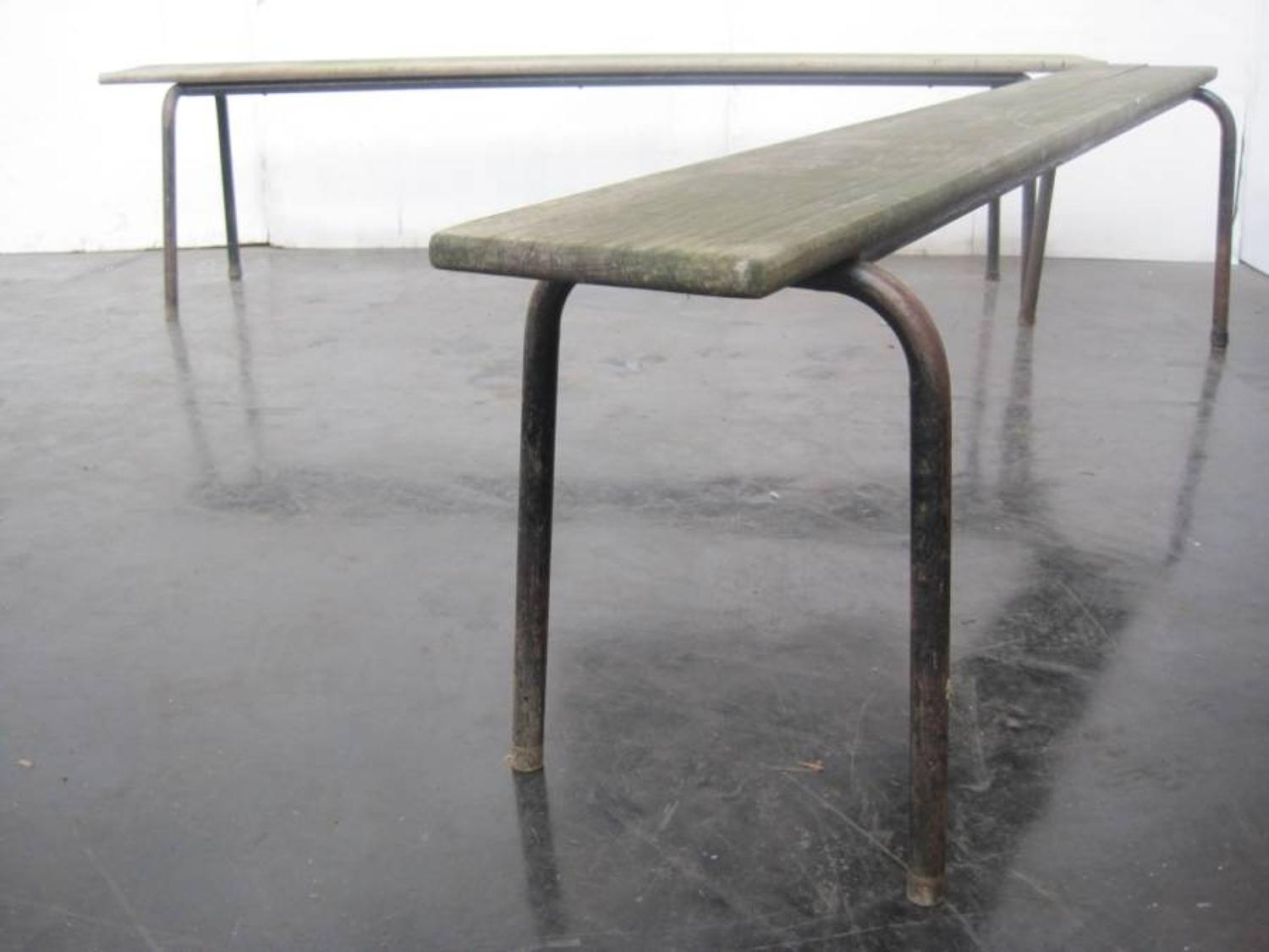 Vintage metal and wood benches