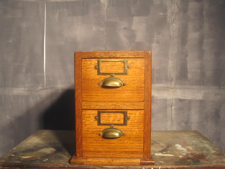 Vintage oak index filing drawers