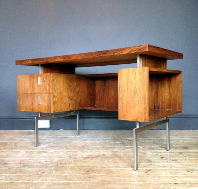 Danish rosewood and chrome desk