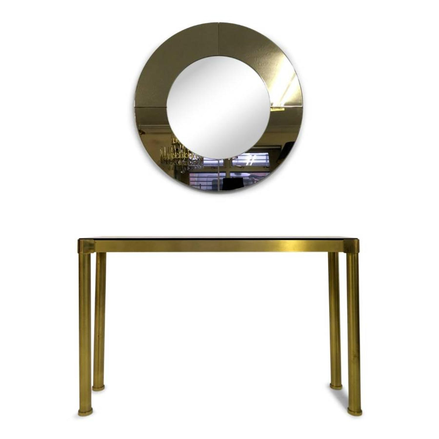 1970s Italian brass console table with mirror