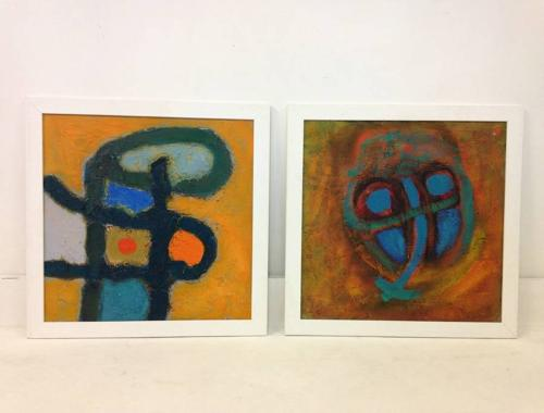 Two abstract paintings