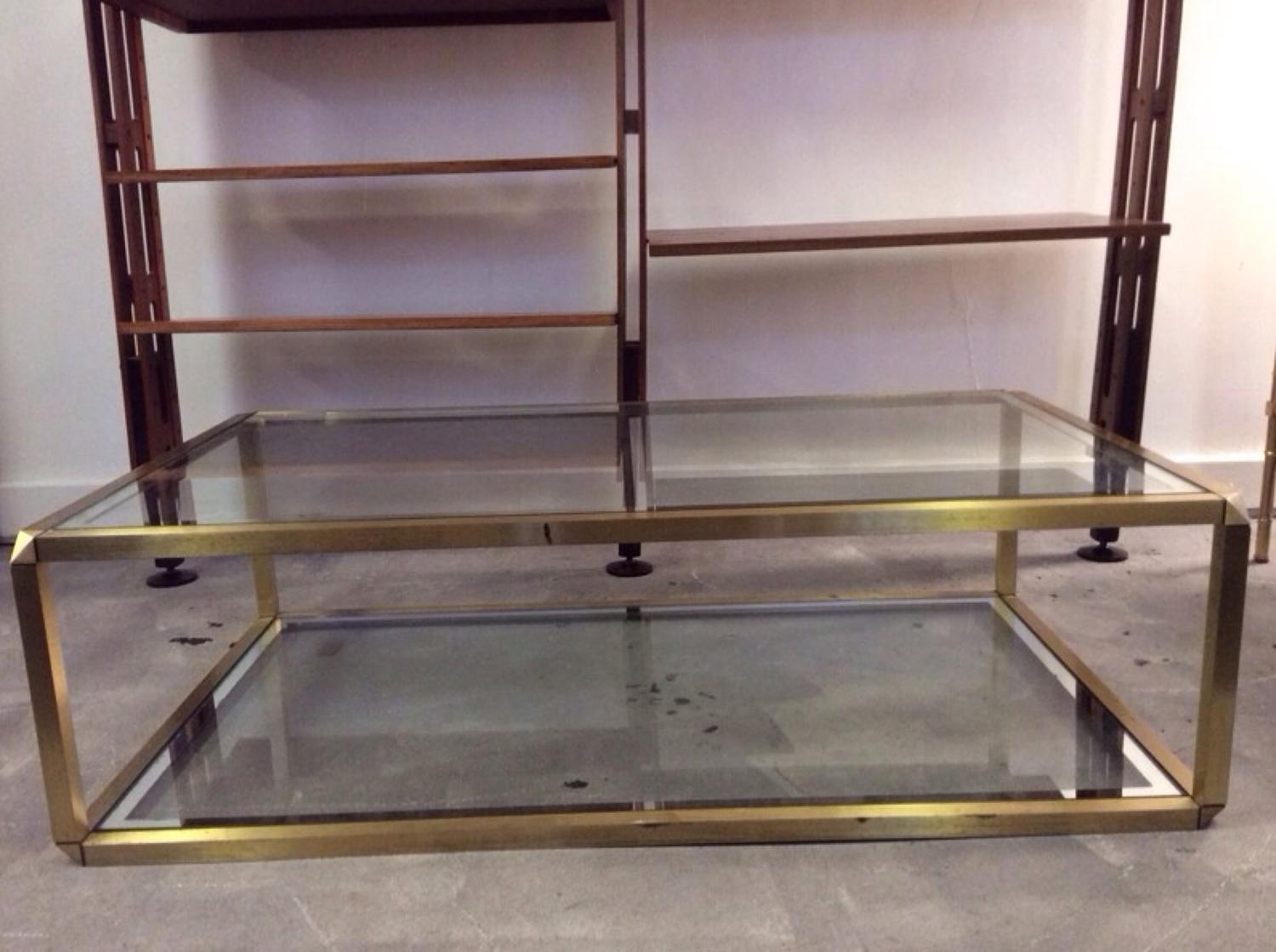 Two tier brass and glass coffee table