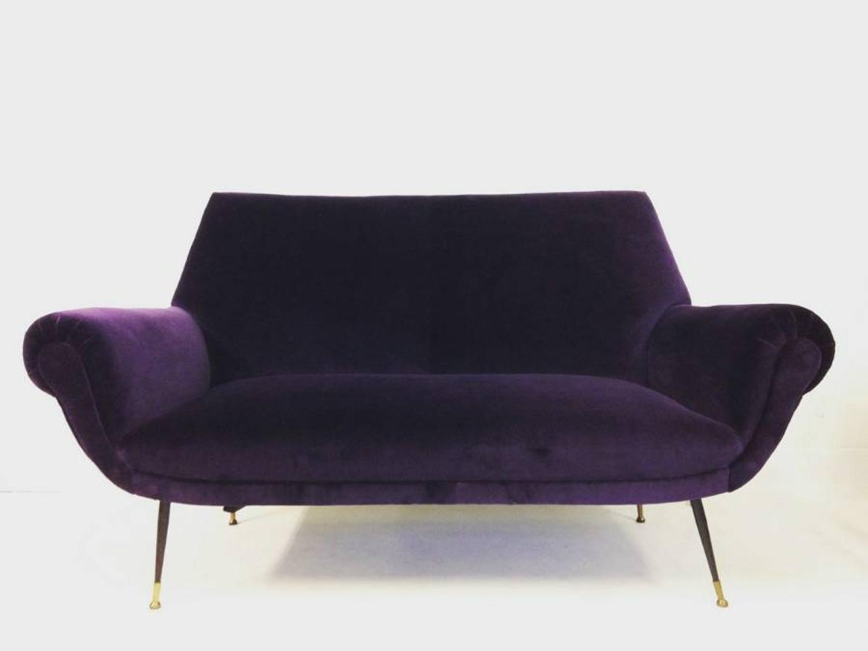 1960s Italian sofa in aubergine velvet