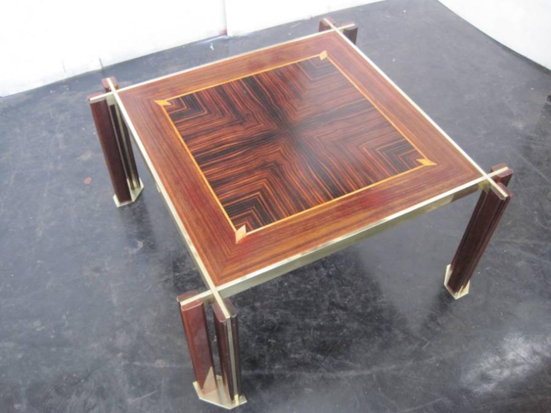 Italian rosewood and brass coffee table