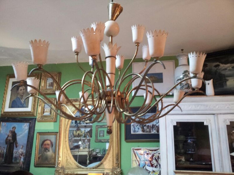 1950s Italian brass and enamel chandelier