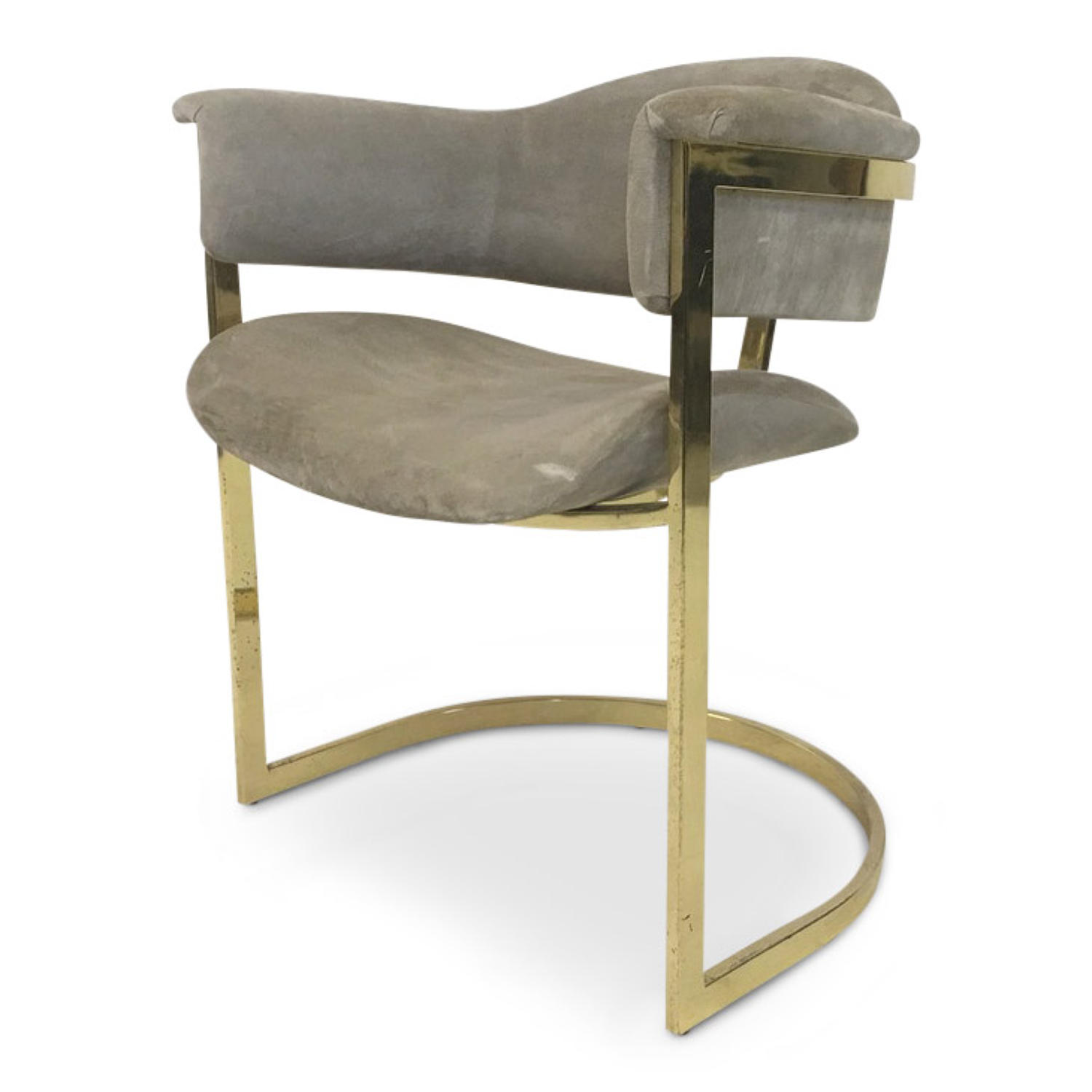 Gilt metal and alcantara desk chair