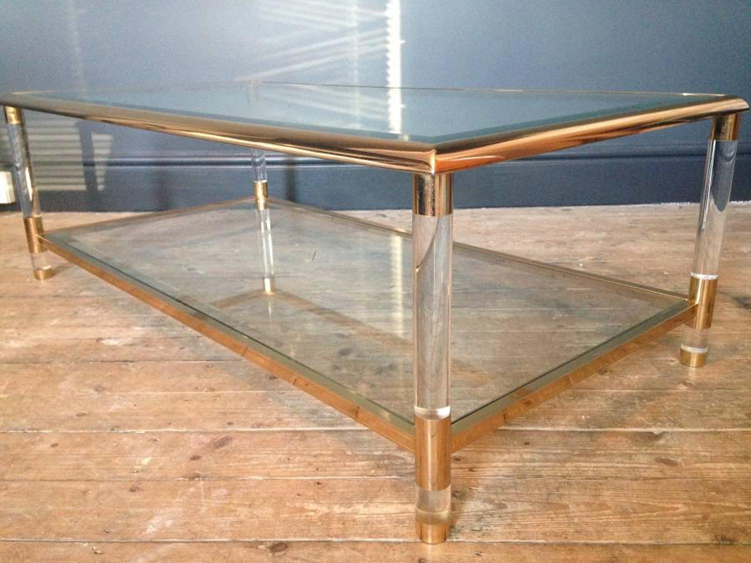 Gilt brass and lucite coffee table