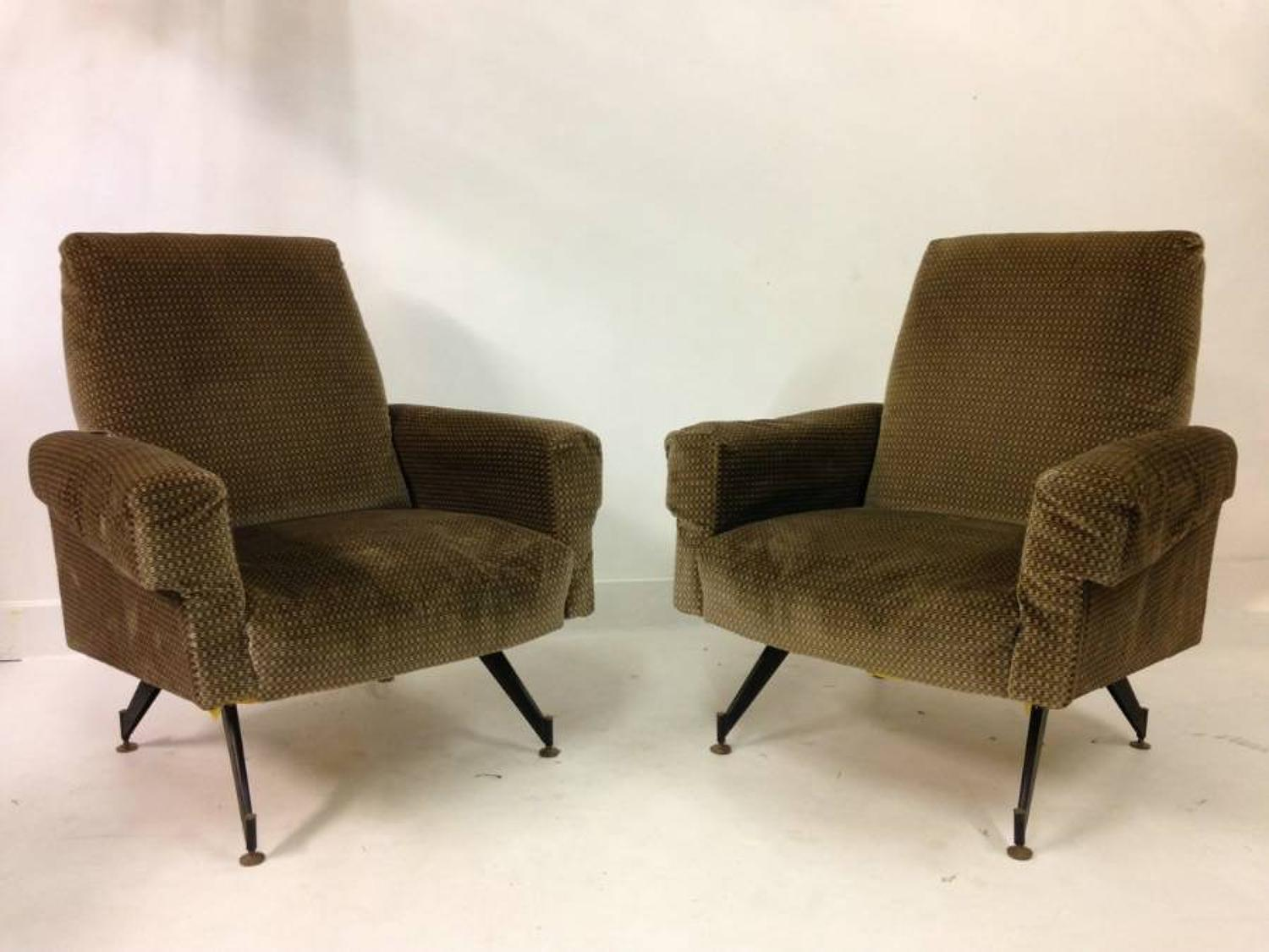 A pair of 1960s Italian armchairs