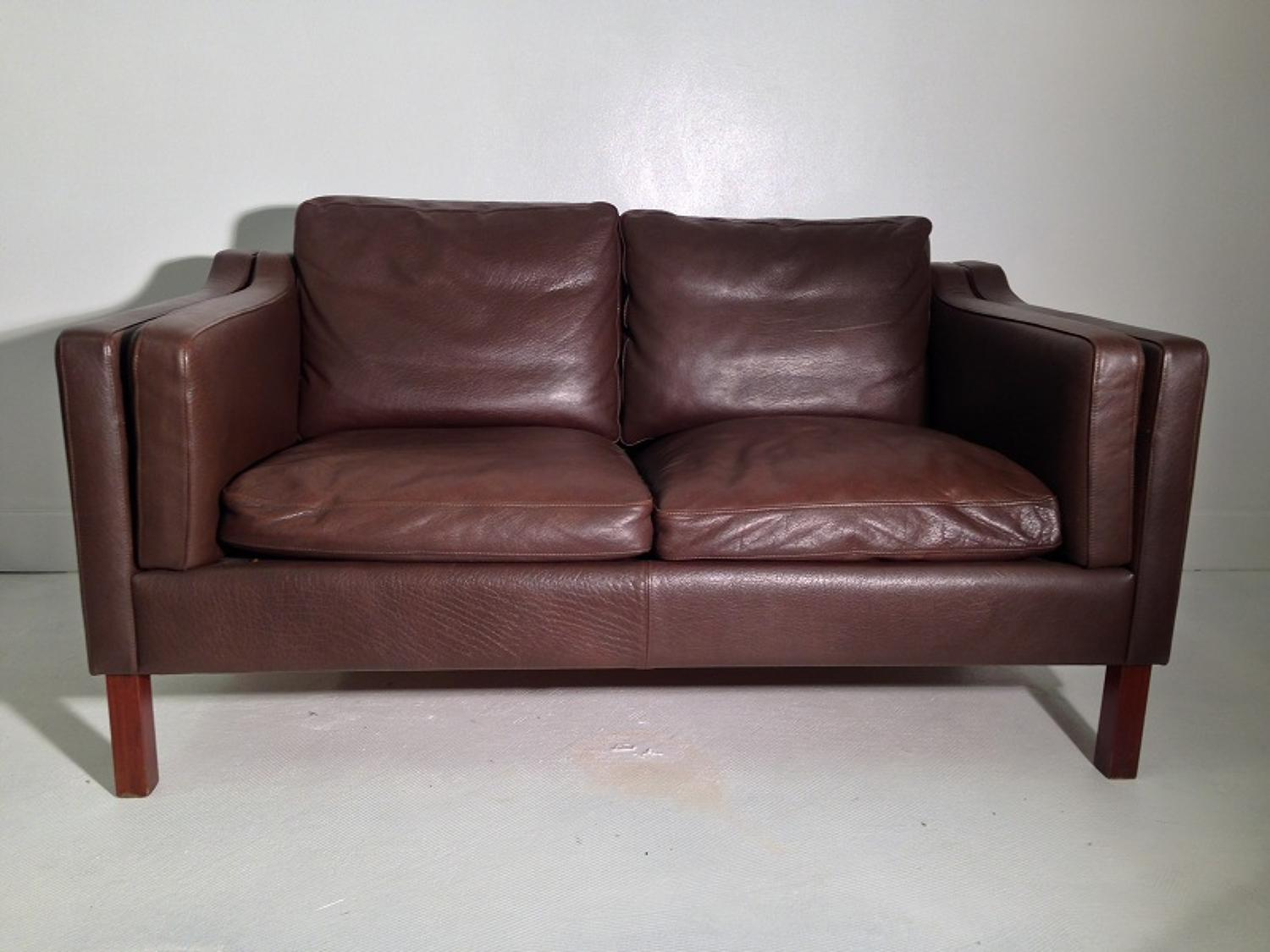 Danish two seater leather sofa