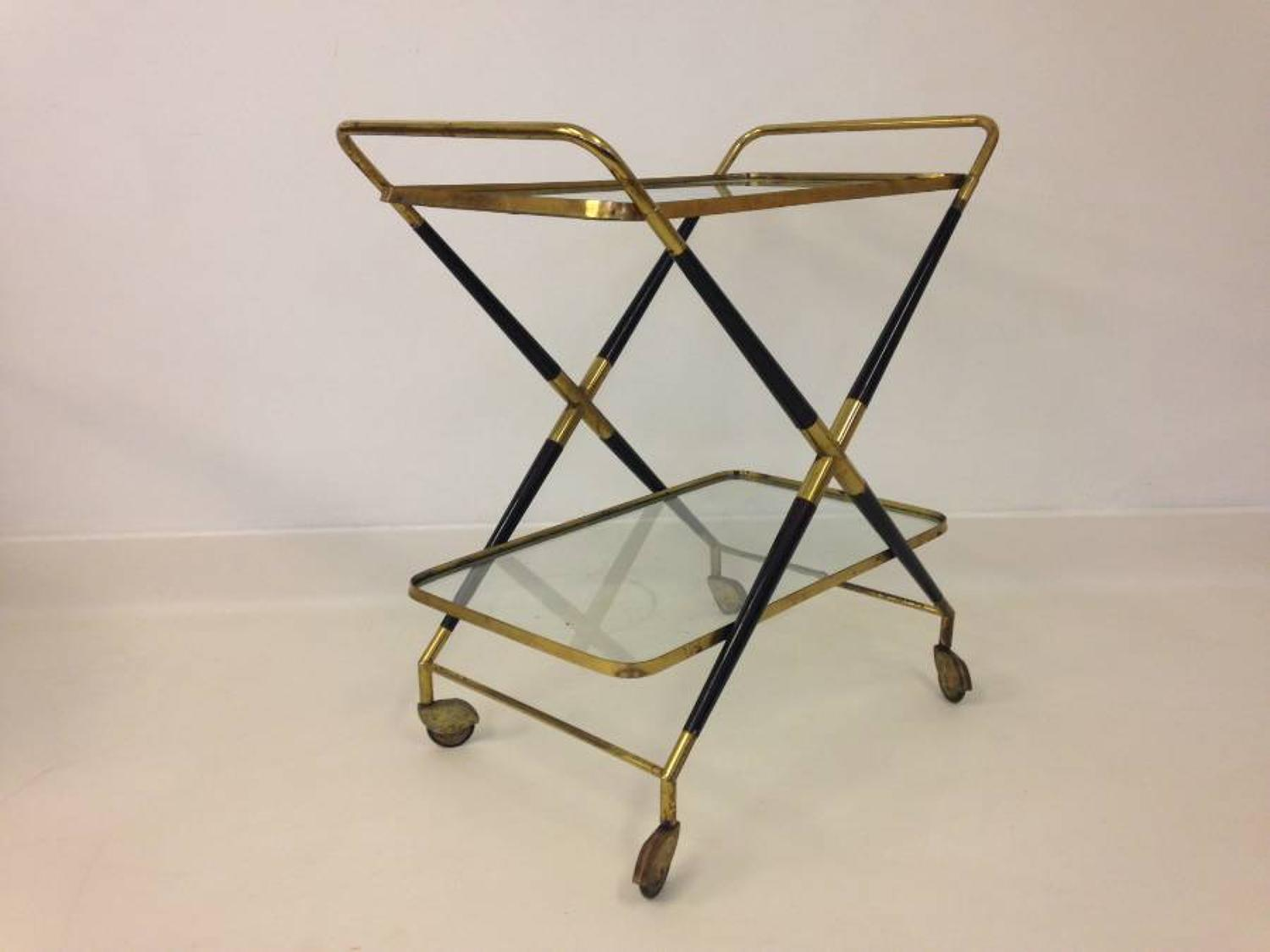 1950s lacquered wood and brass cart