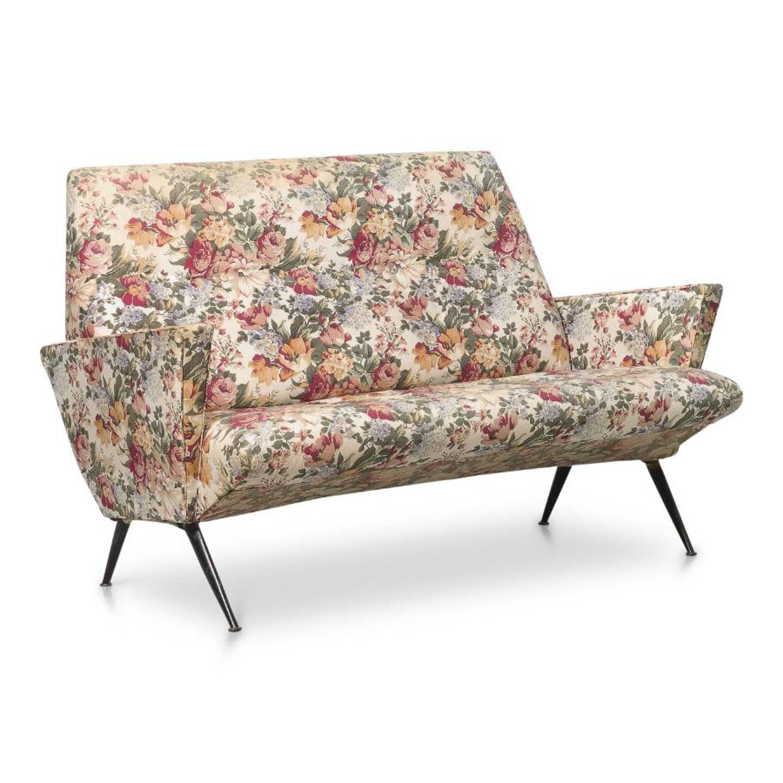1950s Italian angular sofa with metal legs