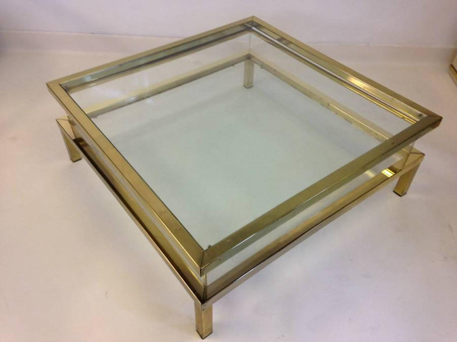 French brass coffee table with sliding top