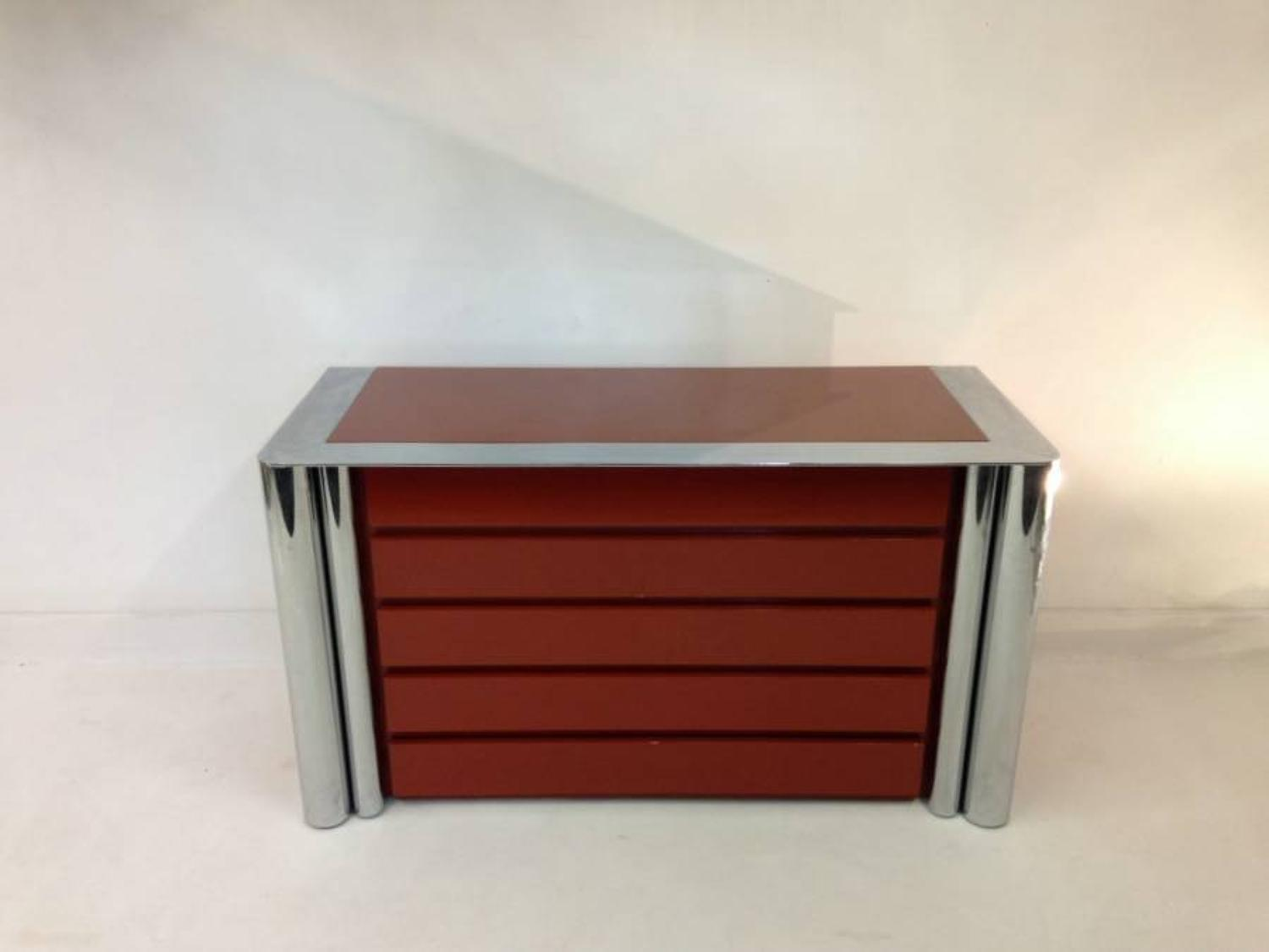 Red glass and chrome chest of drawers