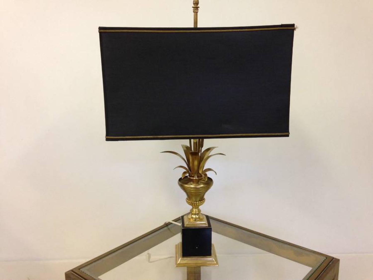 Brass and black metal wheat sheaf lamp