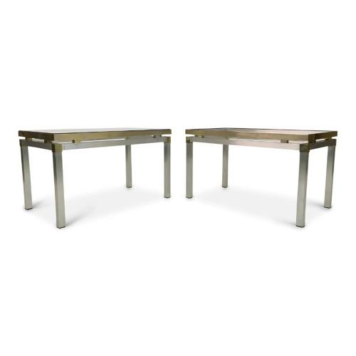 1970s Italian aluminium and brass side tables