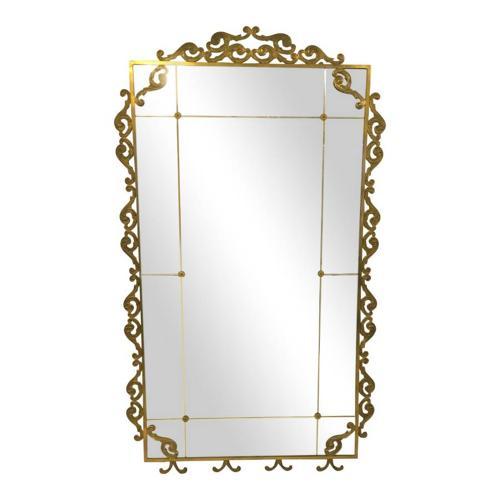 Large 1940s Italian brass floor standing mirror