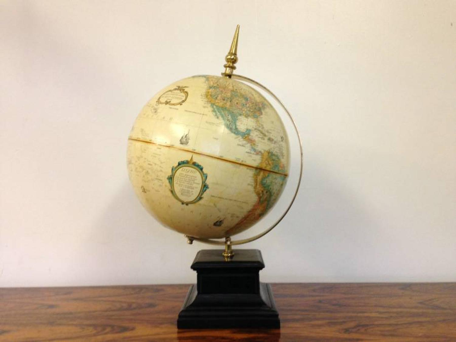 Terrestrial globe on marble and brass stand