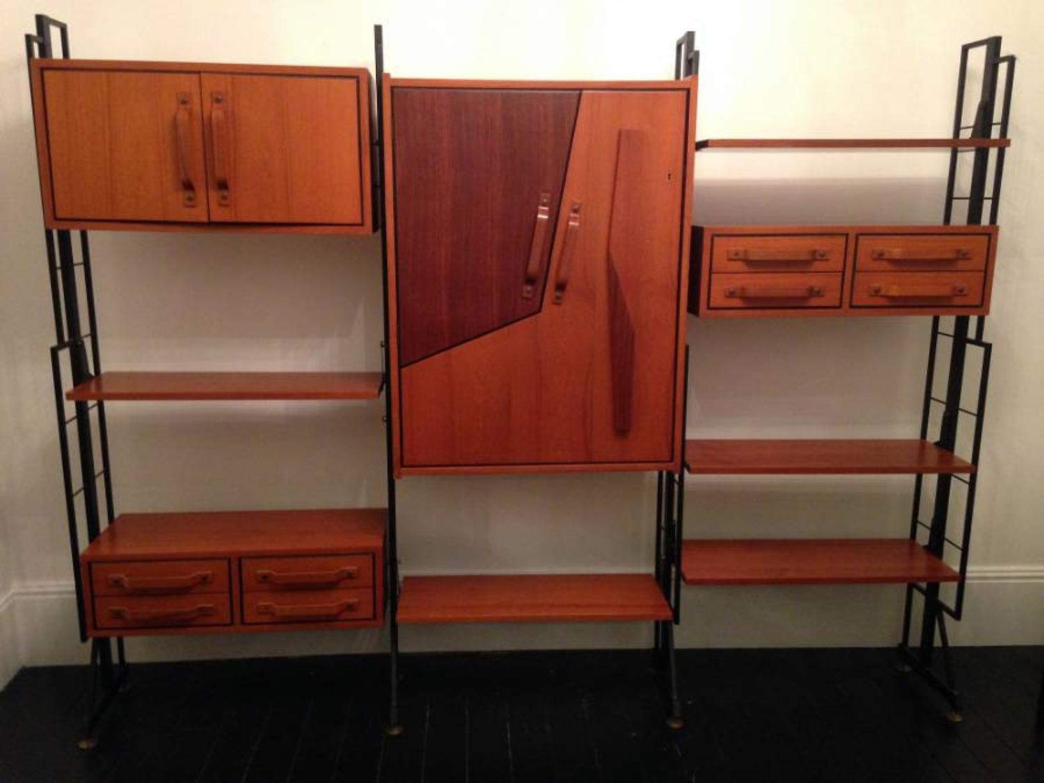 Teak and rosewood bookcase and wall unit