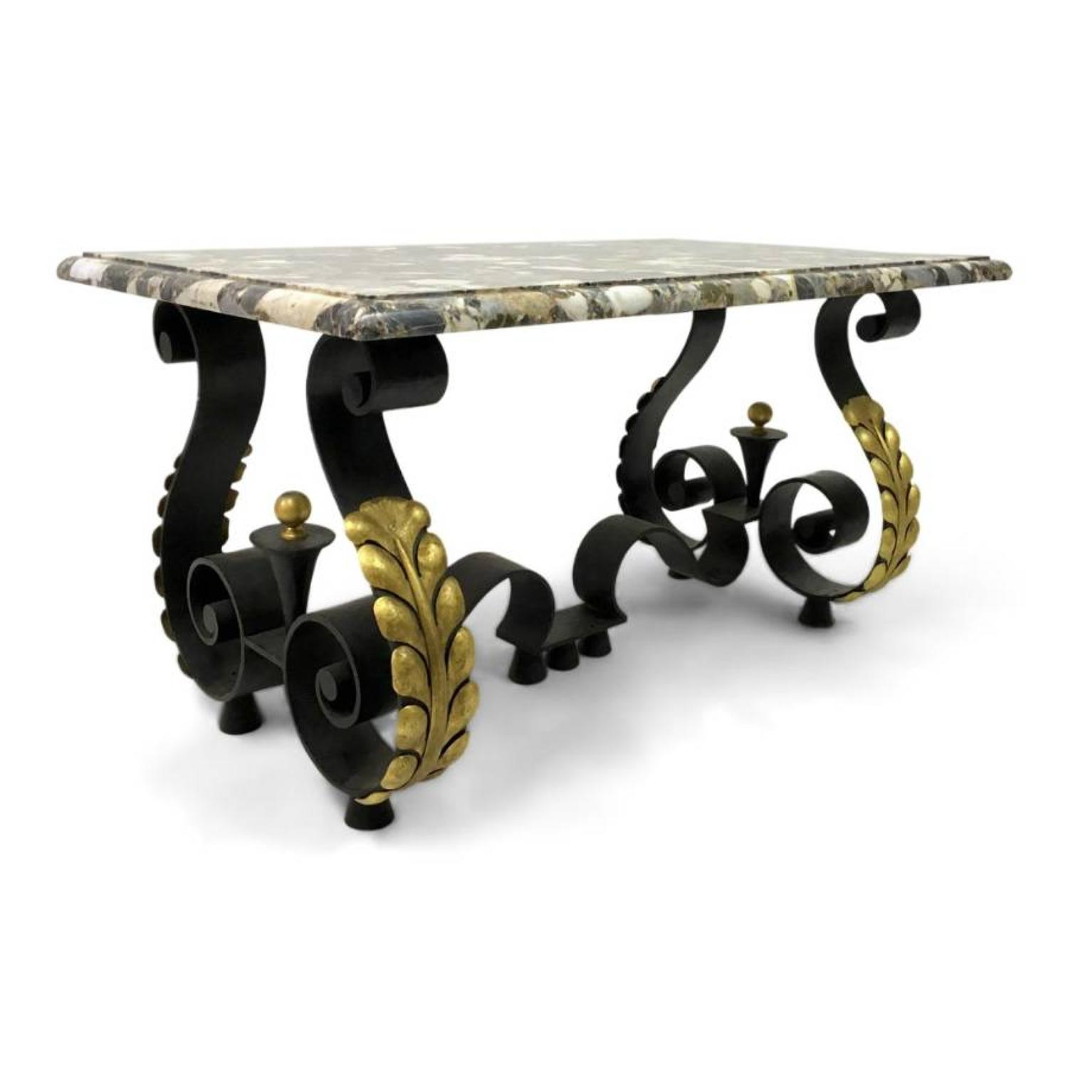 French iron, brass and marble coffee table