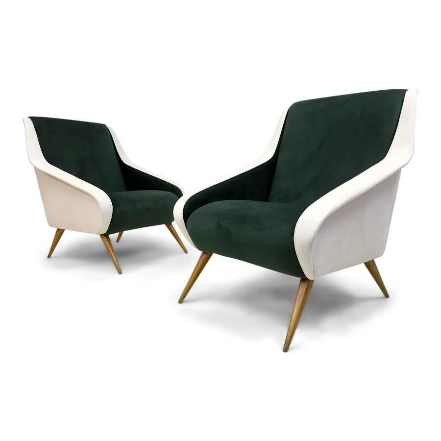 A pair of Italian green and white velvet armchairs