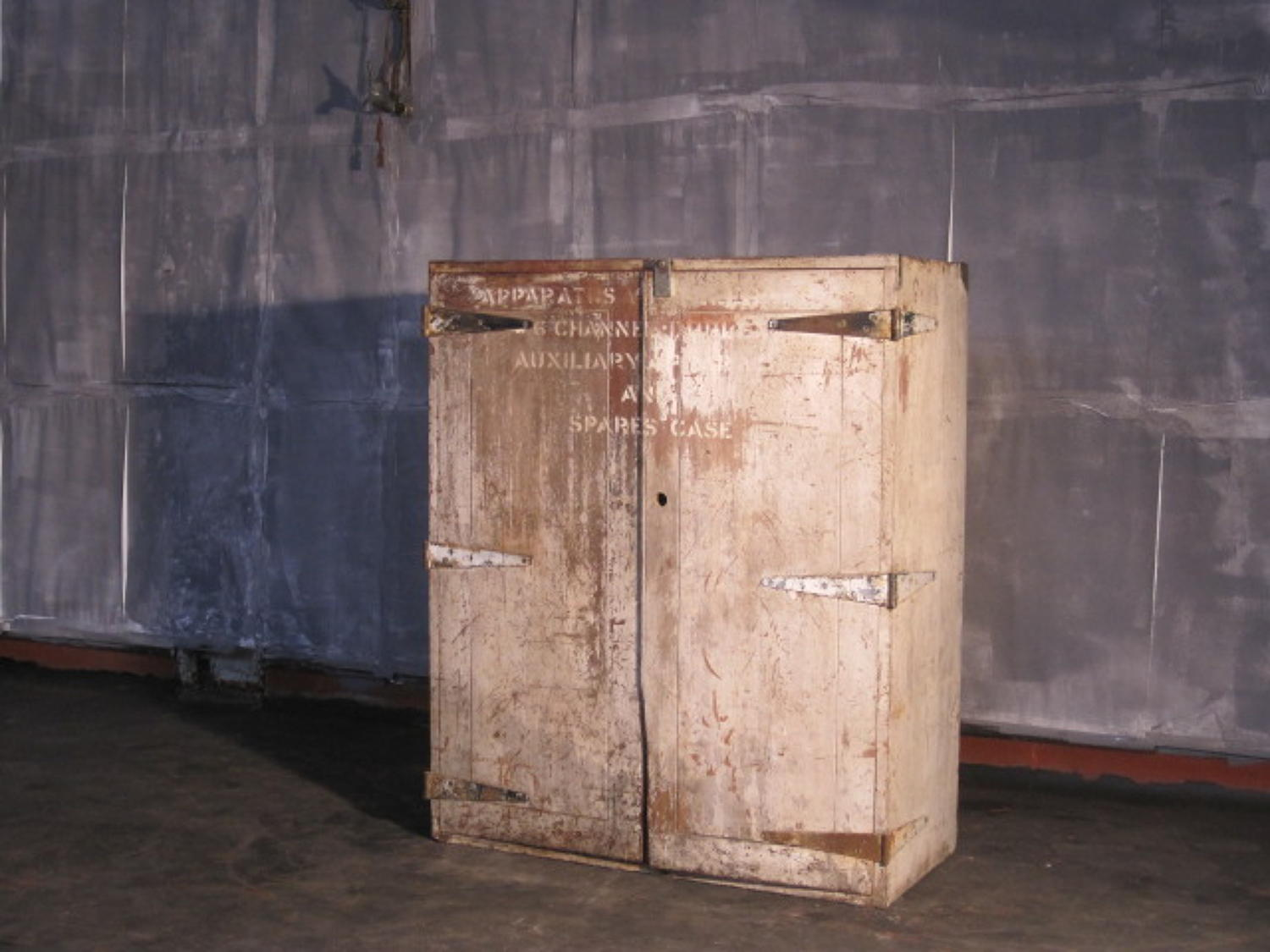Painted teak industrial cabinet