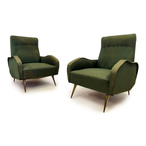 A pair of 1960s Italian armchairs with brass legs