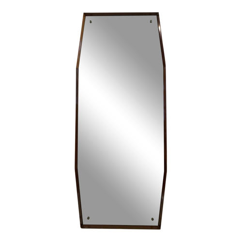 1960s Italian octagonal wooden mirror