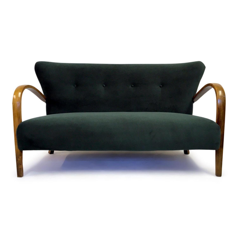1950s Italian bentwood sofa in green velvet